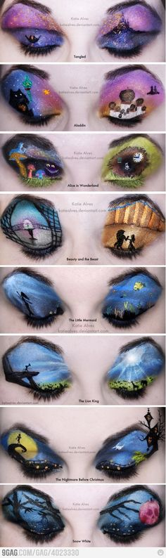 """Disney Make-up  Ok who in the world would ever have time for this?? They just woke up one morning, """"today I'm gonna draw some trees on my eyelids fo look like Disney"""" alright, have un with that..."""