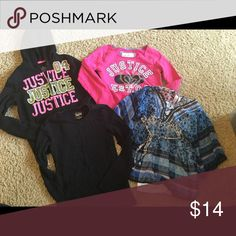 JUSTICE TOP Shirt Lot Girls Size 8 Sweatshirt ek1 This is a lot of girls JUSTICE tops that are all size 8.  These are all in good pre-owned condition with no rips or stains.  You are getting: Black Zippered Hoodie sweatshirt Pink crop sweatshirt Black long sleeve t-shirt Floral Flowy 3/4 length sleeve top Justice Shirts & Tops Sweatshirts & Hoodies