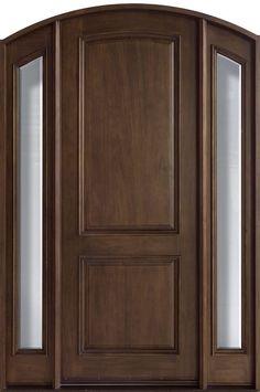 Mahogany Solid Wood Front Entry Door - Single with 2 Sidelites- for the front door Wood Entry Doors, Rustic Doors, Wooden Doors, Entrance Doors, Custom Exterior Doors, Wood Exterior Door, Door And Window Design, Front Door Design, Arched Front Door