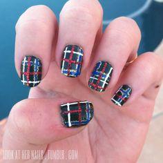 Plaid tartan nail art for Christmas holiday  by LookAtHerNails