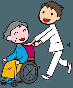 看護師 車いすを押す男性看護師 イラスト