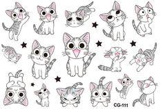 30PCS Kids Cartoon Cute Cat Tattoo Stickers Temporary Tattoos Children Cartoon Tattoo Stickers Body Tattoo Waterproof Tattoo Sticker