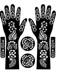 Variety Hand Henna Temporary Tattoo Glitter #Stencil #Sticker Body Art Airbrush Decal Template Mehndi by VinylCre8iveDesigns on Etsy