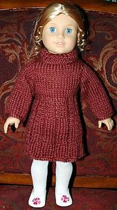 ABC Knitting Patterns - American Girl Doll Dress for Uma and Josephina Knitting Dolls Clothes, Crochet Doll Clothes, Girl Doll Clothes, Girl Dolls, Ag Dolls, Knitted Doll Patterns, Doll Dress Patterns, Knitted Dolls, Knitting Patterns