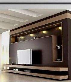 Modern and elegant TV wall design. Living room tv Boho So … Modern and elegant TV wall design. Living room tv Boho So … - Mobilier de Salon Living Room Tv Wall, Tv Cabinet Design, Tv Storage Unit, Living Room Tv, Living Room Tv Unit, Tv Room Design, House Interior, Wall Design, Wall Tv Unit Design