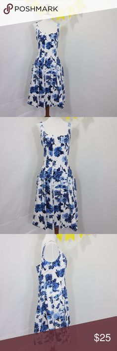 "Blue Rose Foral A-Line Fit & Flare Tea Dress *EE3 Excellent gently worn condition, a little staining on inside lining (pic 8). Pin-tucked flare out skirt, fitted bodice, full side zip, square neck, straps have clasps for holding bra straps, has pockets!! [Size 12 Bust 34"" Waist 32"" Hips 44"" Length 38""] Blue and white.   // No holds, trades, or modeling. Colors may vary on screen. Please use measurements. Offers welcome.   *Last characters in title is inventory number. American Living Dresses…"