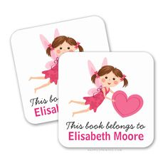"Cute bookplate stickers / book labels for girls featuring a little cartoon fairy holding a pink heart. Customizable text ""this book belongs to"". Personalize the name. Cute and girly design for labelling children's school books. Can also be turned into general property labels by changing the text.  Vibrant full-color printing Scratch-resistant front, easy peel-and-stick back Available in a matte or glossy finish"