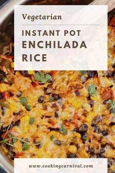 Quick, easy, flavorful, filling and cheesy Instant Pot Enchilada Rice gets done in less than 30 minutes. Perfect for a busy weeknight meal and to feed a crowd on a budget! Best Enchilada Sauce, Enchilada Rice, Enchilada Recipes, Instant Pot Pressure Cooker, Pressure Cooker Recipes, Pressure Cooking, Slow Cooker, Mexican Food Recipes, Vegetarian Recipes