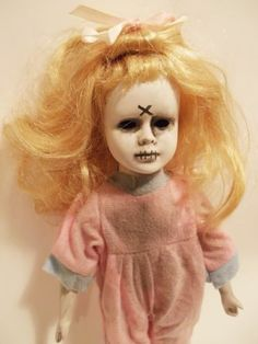 Creepy Smaller Girl Doll in Pink Zombie no eyes Pajamas custom porcelain repaint
