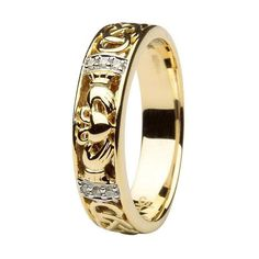 This wedding ring handcrafted in 14K gold tells the story of a marriage fashioned out of teamwork and harmony. The themes of continuity and longevity are embedded all the way around the band in the form of a Celtic knot made of entwined golden ropes. Trios of pave diamonds cradle the Claddagh symbol, one of friendship and loyalty, in the center, as though to remind the couple to treat their relationship as a royal privilege. The bond between a wife and her husband should never break, and ...