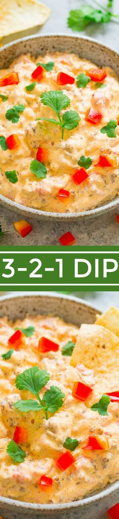 3-2-1 Dip {Instant Pot, Stovetop, or Slow Cooker} - An EASY dip with just 3 different ingredients!! With 3 different choices how to make it! Creamy, cheesy comfort food that's great for game day parties or TV nights on the couch!!