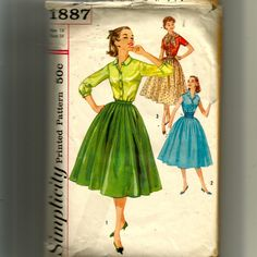 Simplicity Misses' Blouse, Skirt, Cummerbund and Scarf Pattern 1887 by NewAgain on Etsy