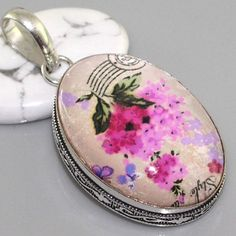 "M9059 Fancy Dichroic Glass & 925 Silver Overlay Pendant 1.9"" Gemstone Jewelry"