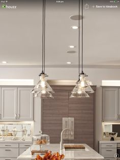 Transitional Kitchen Design With Kitchen Pendant Lighting Ideas Above The Island That Applied Marble Countertop Design Eclectic Kitchen, Kitchen Interior, Home Interior Design, Grey Kitchen Cabinets, Kitchen Dining, Nice Kitchen, White Cabinets, Kitchen Island, Kitchen Ideas
