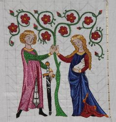 Split stitch embroidery for 14thC alms purse - in progress.