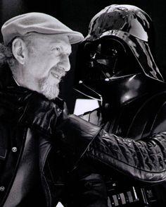 Dave Prowse playfully strangles director Irvin Kershner - Behind the scenes of Star Wars Episode V: The Empire Strikes Back