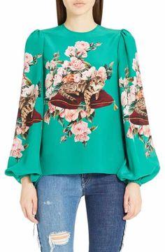 a3c2276011d Dolce Gabbana Cat Print Silk Bell Sleeve Blouse Bell Sleeve Blouse