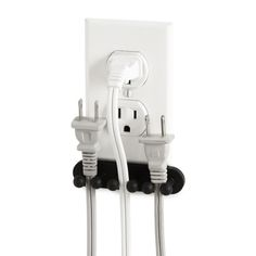 Attach this clever organizer to the wall beneath your outlet to keep plugs tidy and ready for use when you need to turn on a device. NEED THIS FOR THE KITCHEN! Do It Yourself Organization, Storage Organization, Geek Gadgets, Cool Gadgets, Newest Gadgets, Electronics Gadgets, Ideas Prácticas, Dorm Ideas, Tips & Tricks