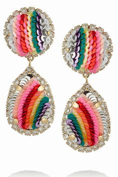 10 Shourouk jewelry pieces that will bring the wow factor to any of your outfits - LaiaMagazine Beaded Earrings, Clip On Earrings, Drop Earrings, Rainbow Fashion, Schmuck Design, Fine Jewelry, Women's Jewelry, Silver Jewellery, Jewelry Stores