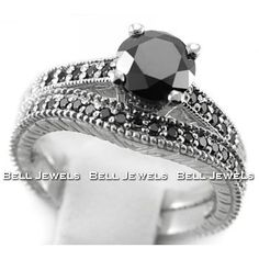 <3 <3 <3 <3 <3 <3 <3 <3 <3 1.30ct Black Diamond Engagement & Wedding Ring Set - Matching Sets by Bell Jewels