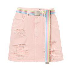 DAMAGE DENIM SKIRT (2.625 ARS) ❤ liked on Polyvore featuring skirts, pink skirt, pink denim skirt, puff skirt, denim skirt and puffy skirts