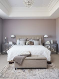 17 Simple But Awesome Master Bedroom Design Idea 5 ~ Home Design Deccoration Purple Master Bedroom, Mauve Bedroom, Best Bedroom Colors, Master Bedroom Interior, Bedroom Color Schemes, Home Decor Bedroom, Interior Design Living Room, Bedroom Ideas, Purple Bedrooms