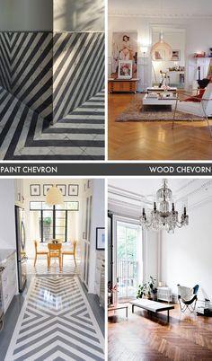 chevron floors: wood + painted
