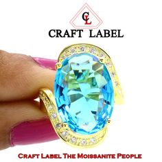 """4.50 Ct Oval Cut Blue Topaz 14K Gold Halo Bypass Engagement Ring """"Mother\'s Day Gift"""". Starting at $1"""