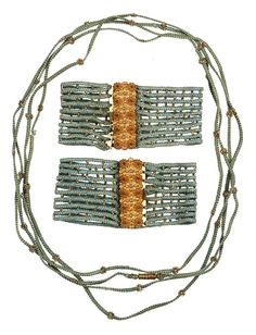 NYHS Object #Inv.969a-c Necklace and bracelets set, 1820-1840; silk and metal.