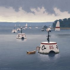 Simon Stalenhag has created these incredible digital illustrations, he is an artist based in Stockholm, Sweden and has been involved in projects such as Environment Concept, Environment Design, Concept Art World, Science Fiction Art, Science Fair, Matte Painting, Sci Fi Fantasy, Fantasy Images, Fantasy Artwork