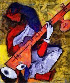 Sitar, by MF Hussain. Art And Illustration, Indian Art Paintings, Modern Art Paintings, Canvas Art Prints, Framed Art Prints, Figurative Kunst, Love Painting, Music Painting, Aboriginal Art