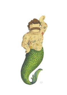 Sailor boats tattoo illustrations ideas for 2019 Mermaid Man, Sea Siren, Mermaid Under The Sea, Funny Tattoos, Mermaids And Mermen, Merman, Merfolk, Bear Art, Ghibli