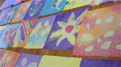 batik with glue!  use good ol' white glue to draw a pattern on fabric, paint over it, wash, and voila!