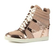 Rose Gold New Look Wedge Trainers