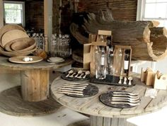 Use industrial spools for garage or cabin parties! They're beautifully rustic. #spools #industrialspools