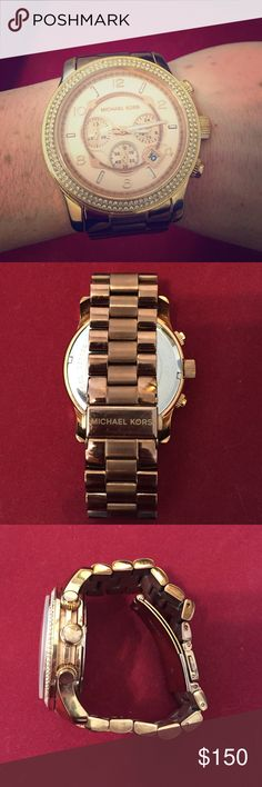 Michael Kors Runway Large Glitz Rose Gold Watch Beautiful large face double Glitz Rose Gold Watch. Was warn, but not scratches on the face of the watch. All additional links included. A little wear on the underside of the band. Always was a statement piece when worn! MICHAEL Michael Kors Accessories Watches
