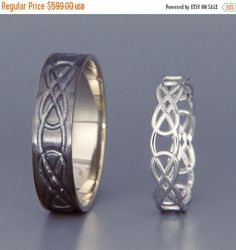 14K Black and Bright White Gold Celtic Knot Wedding Rings Set