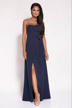 b184baa01219 Μάξι φόρεμα στράπλες - Μπλε Σκούρο