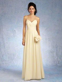 Alfred Angelo Style 7323L: Floor length bridesmaid dress with spaghetti straps and softly gathered skirt