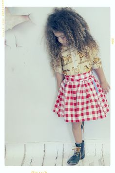Day Hike Red + White Check Gingham Girls Skirt and Sash by Fleur + Dot