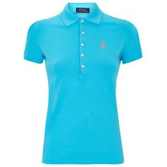Polo Ralph Lauren Julie Polo Shirt ($135) ❤ liked on Polyvore featuring tops, blue shirt, polo ralph lauren shirts, form fitting shirts, polo shirts and slim shirt