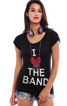 Deb Shops Slash Back Tee with I Heart the Band Screen $14.25