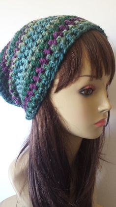Multi Color Crochet Slouch Beanie Thick & Soft  by ScarletsCorner, $25.00