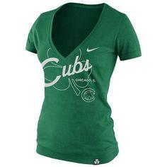 St. Patrick's Day Chicago | Nike Chicago Cubs Ladies St. Patrick's Day Deep V-Neck Tri-Blend T ...