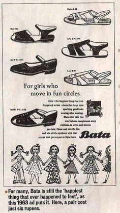 Vintage Ads of stuff still in the market - Bata shoes, 1963 . school years started with a purchase of a Bata black school shoes :) :), Vintage Advertising Posters, Old Advertisements, Print Advertising, Print Ads, Vintage Posters, Advertising Signs, Vintage India, Vintage Ads, Vintage Prints
