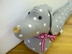 Vintage-style-Sausage-Dog-Draught-Draft-Excluder-Dotty-Grey-Gray-Fabric-Gift