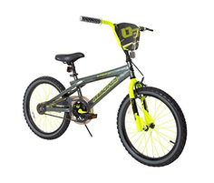 """Kids Magna Rip Claw Bike 20"""" (Grey/Yellow)  Manufacturer Suggested Age: 6 Years and Up  Bicycle Frame Height: 10""""  Bicycle Frame/Component Features: Suspension Fork, Alloy Rims, Chain Guard, Adjustable Handlebars  Includes: kickstand"""