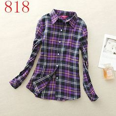 Lapel Long-Sleeve Plaid Shirt