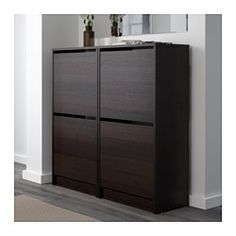 IKEA - BISSA, Shoe cabinet with 2 compartments, black/brown, , Helps you organize your shoes and saves floor space at the same time.You can easily adjust the space Shoe Cabinet Entryway, Shoe Storage Cabinet, Ikea Bissa, Armoire, Small Storage, Drawer Fronts, Floor Space, Closet Organization, Organization Ideas