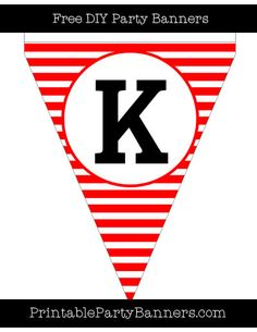 Red and White Pennant Horizontal Striped Capital Letter K